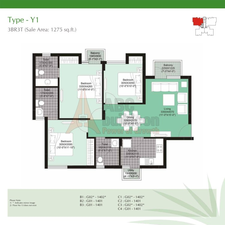 Unitech Uniworld Gardens 2 Floor Plan 3 BHK – 1275 Sq. Ft.