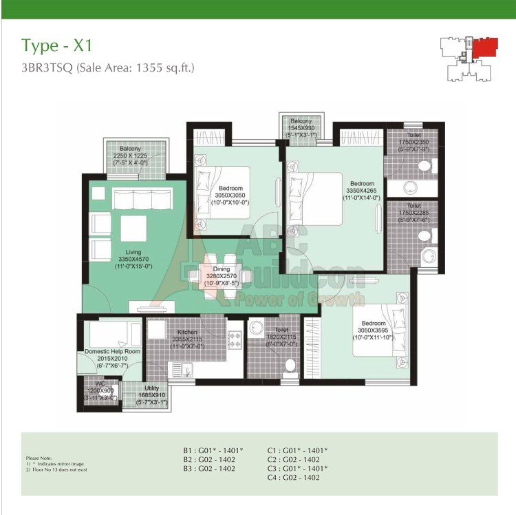 Unitech Uniworld Gardens 2 Floor Plan 3 BHK + S.R – 1355 Sq. Ft.