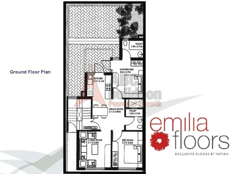 Vatika Emilia Floor Plan 2 BHK – 929 Sq. Ft. - Ground Floor