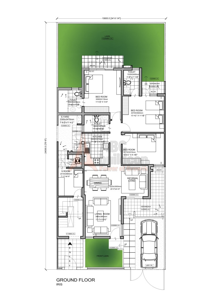 Vatika Iris Floor Plan 3 BHK + S.R – 1581 Sq. Ft. (Ground Floor)