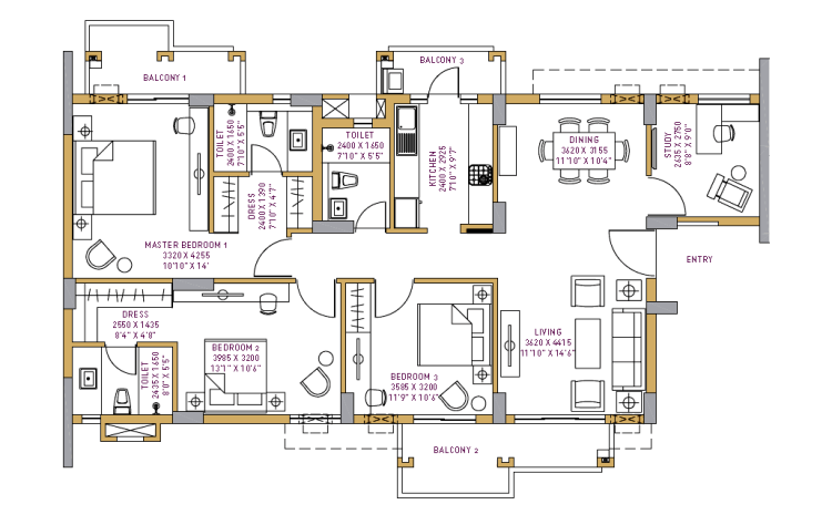 Vatika Seven Lamps Floor Plan 4 BHK + S.R – 2423 Sq. Ft.