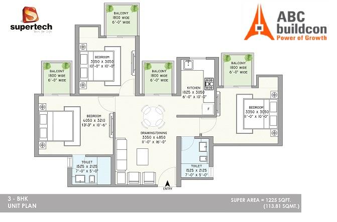 3. Supertech Azaliya Floor Plan 3 BHK – 1225 Sq. Ft.