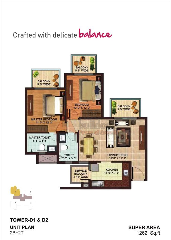 AIPL Zen Residences Floor Plan 2 BHK – 1262 Sq. Ft.