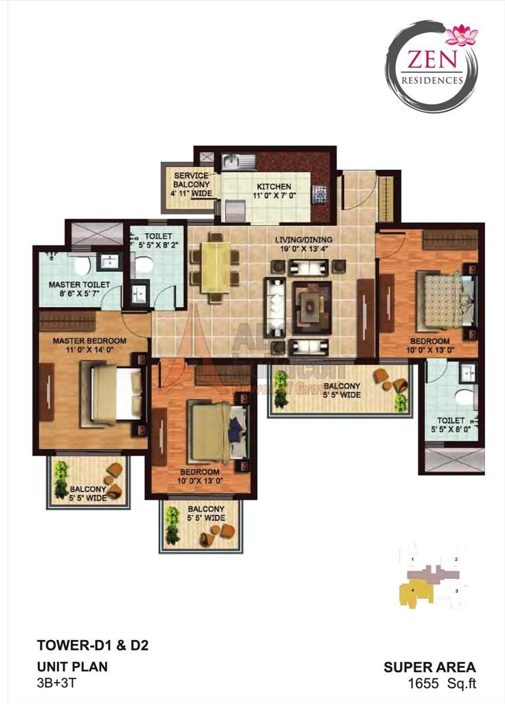 AIPL Zen Residences Floor Plan 3 BHK – 1655 Sq. Ft.
