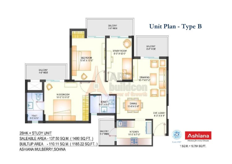 Ashiana Mulberry Floor Plan 2 BHK + STUDY – 1480 Sq. Ft.