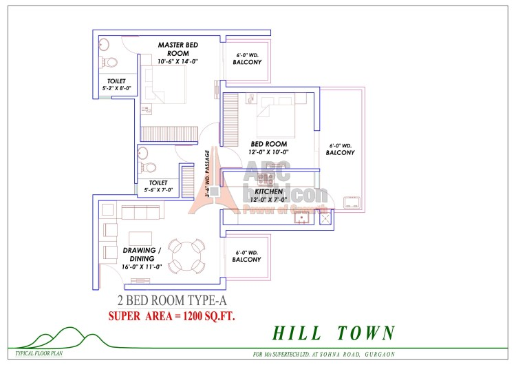 1. Supertech Hill Floor Plan 2 BHK – 1200 Sq. Ft.