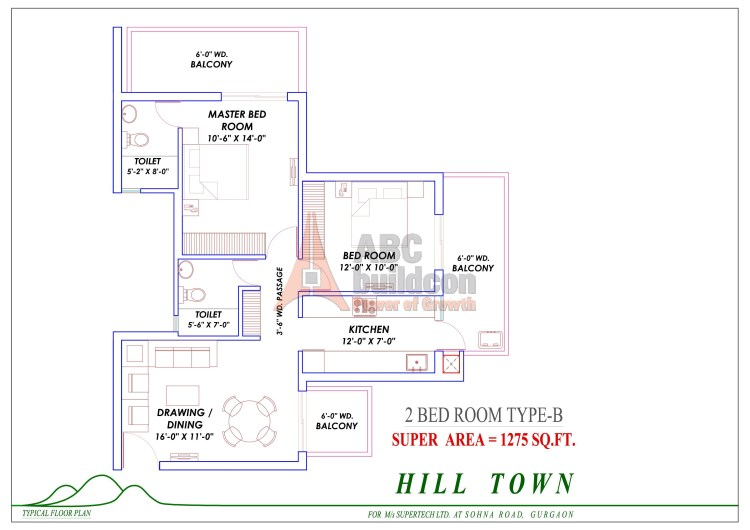 2. Supertech Hill Floor Plan 2 BHK – 1275 Sq. Ft.