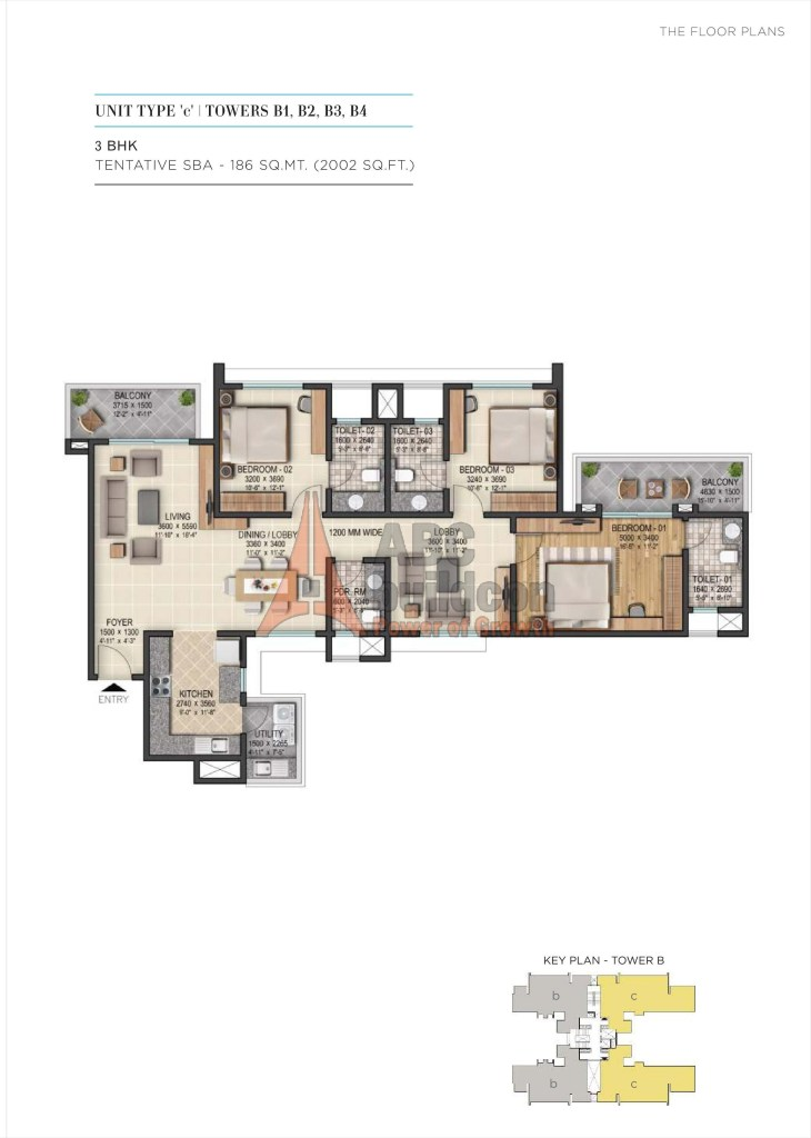 3. Sobha City Floor Plan 3 BHK + Utility – 2002 Sq. Ft.
