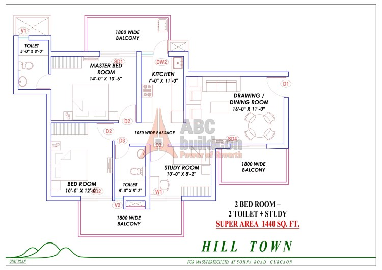 3. Supertech Hill Floor Plan 2 BHK + STUDY – 1440 Sq. Ft.