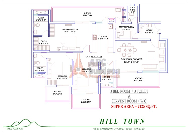 5. Supertech Hill Floor Plan 3 BHK + S.R – 2225 Sq. Ft.