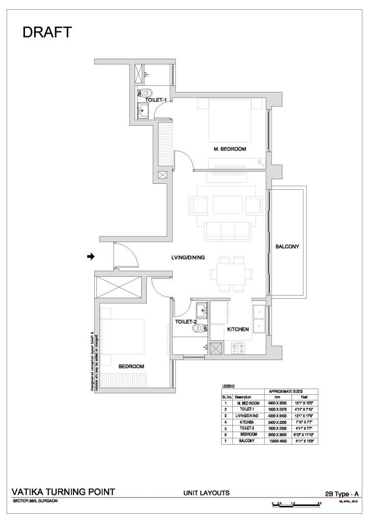1. Vatika Turning Point Floor Plan 2 BHK – 1150 Sq. Ft.