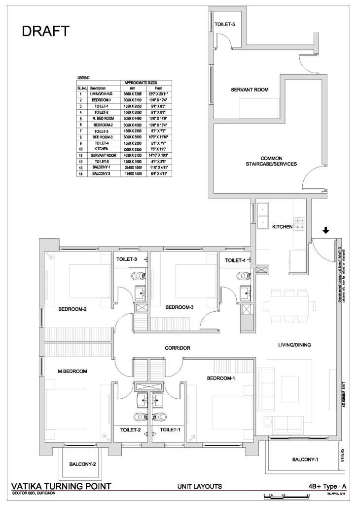 5. Vatika Turning Point Floor Plan 4 BHK + S.R – 2150 Sq. Ft.