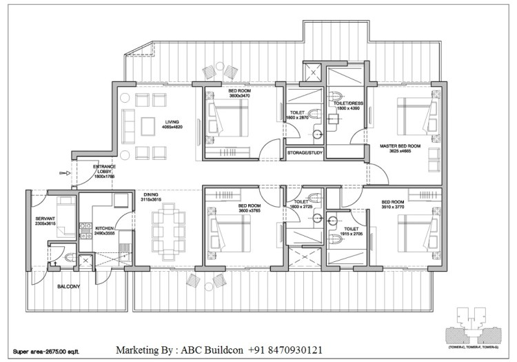 4. Bestech Park View Altura Floor Plan 4 BHK + S.R – 2675 Sq. Ft.