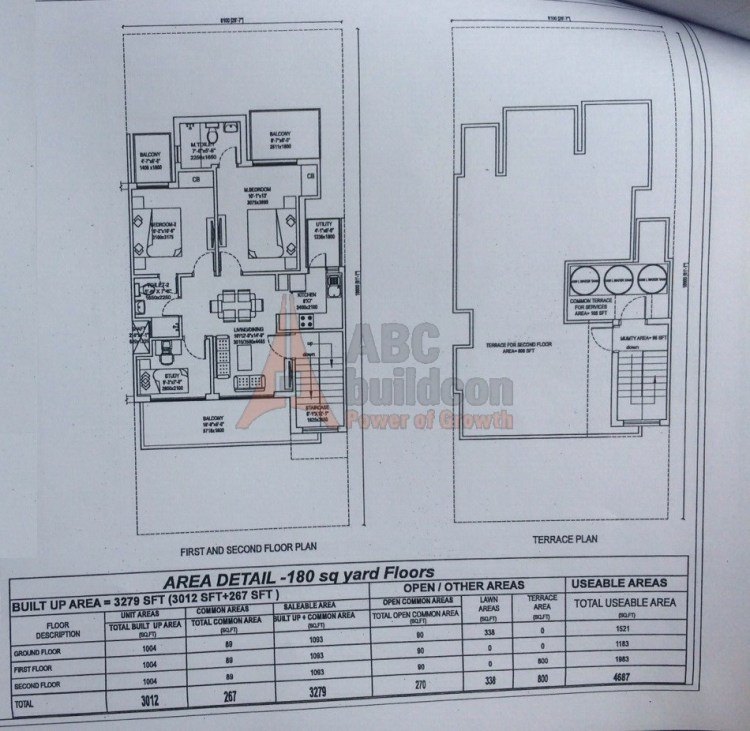 3. Central Park 3 Floors Floor Plan 2 BHK – 1093 (SF)Sq. Ft.