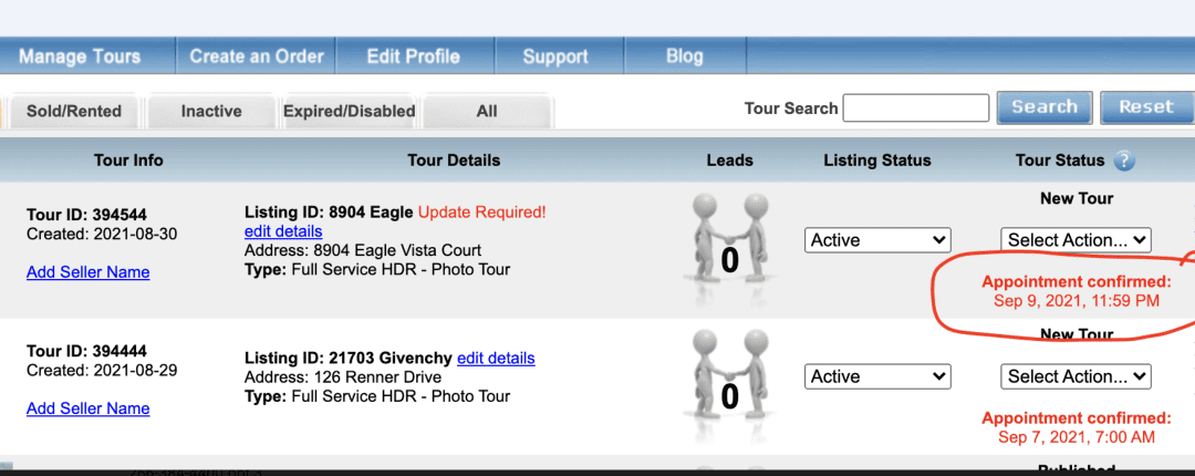 Appointment Dates in Manage Tours