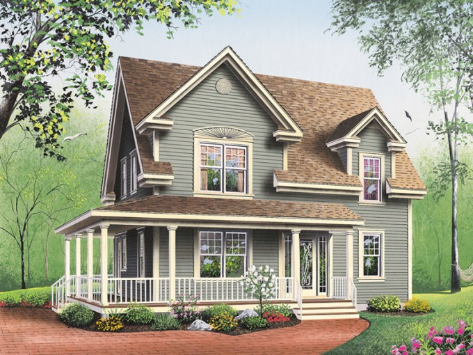 Amberly Bay Farmhouse Plan 032D 0017   House Plans and More Neoclassical Home Plan Front Photo 02   032D 0017   House Plans and More