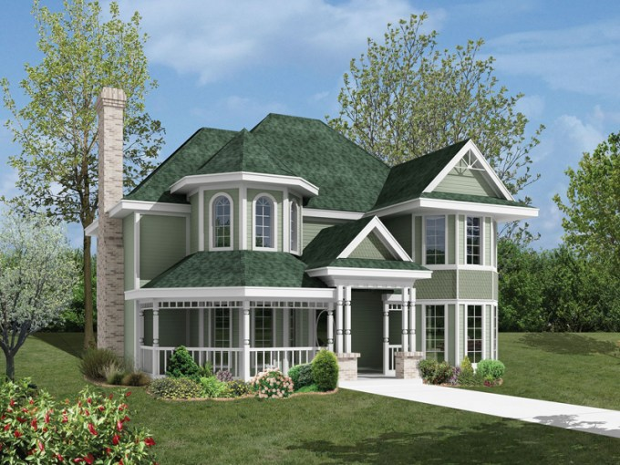Wedgegrove Victorian Home Plan 037D 0016   House Plans and More Victorian Style Home Features Double Bays