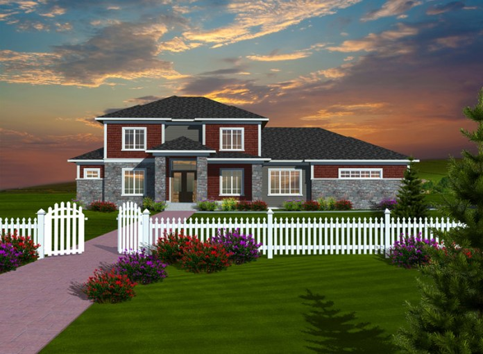 Pimlico Cove Prairie Home Plan 051D 0753   House Plans and More Prairie Style Floor Plan Front of Home   051D 0753   House Plans and More
