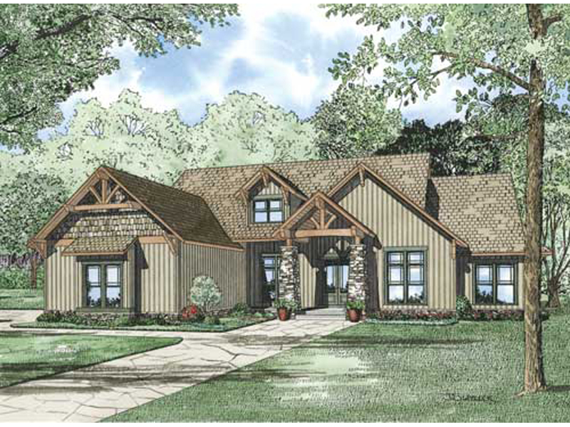 Wilburton Craftsman Ranch Home Plan 055D 0860 House