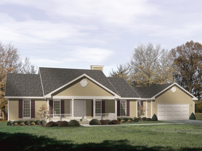 Bedford Heights Ranch Home Plan 058D 0174   House Plans and More Country Style Ranch With Covered Front Porch
