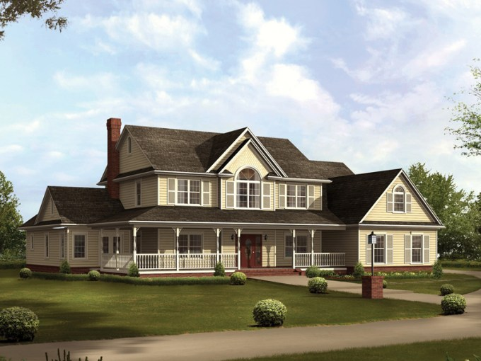 Cruden Bay Country Farmhouse Plan 067D 0014   House Plans and More Country Style Two Story Home Sweeping Covered Porch