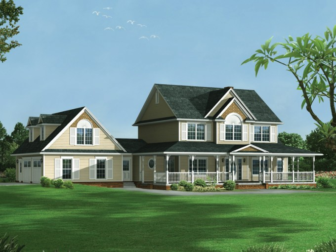 Amelia Country Farmhouse Plan 068D 0013   House Plans and More Farmhouse Style Two Story Hoouse Has Garage With Dormers On Side