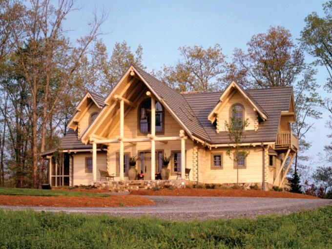 Sitka Rustic Country Log Home Plan 073D 0021   House Plans and More Tantalizing Log Home With Decorative Wood Design