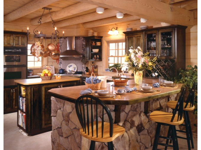 Sitka Rustic Country Log Home Plan 073D 0021   House Plans and More Country House Plan Kitchen Photo 01   073D 0021   House Plans and More