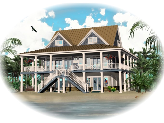 Howell Creek Raised Coastal Home Plan 087D 1557   House Plans and More Vacation House Plan Front of Home   087D 1557   House Plans and More