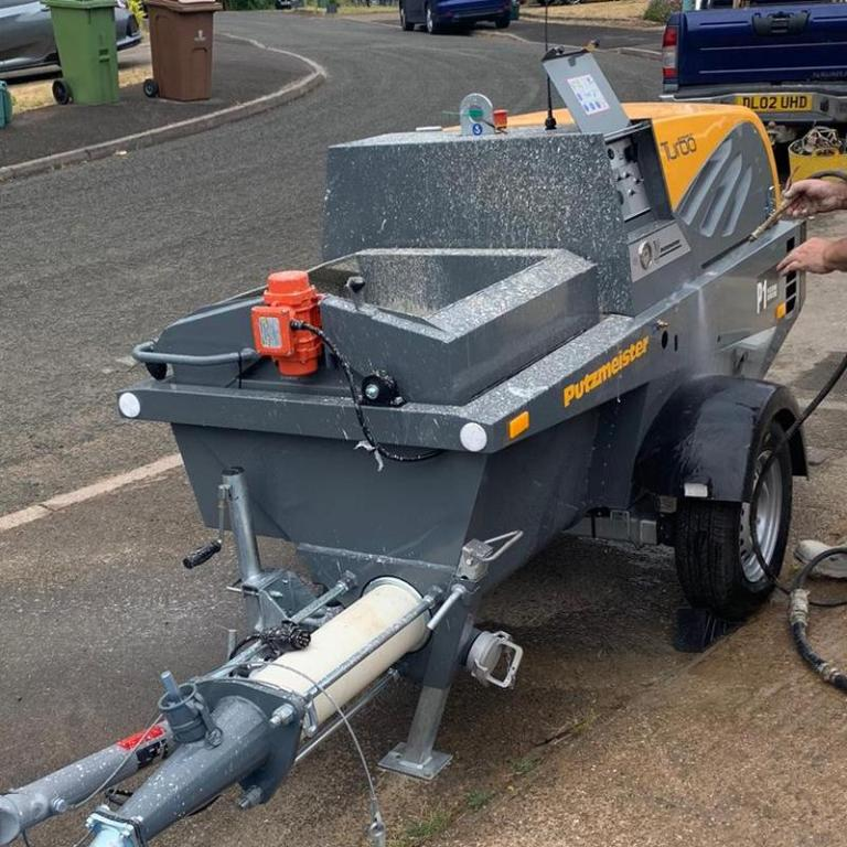 Putzmeister screed pump ready for screed pouring