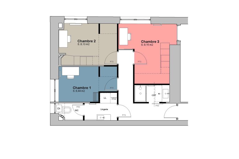 Three rooms in one