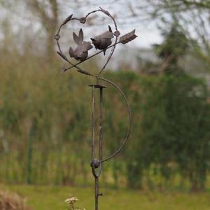 Balancier métal à planter – Louise – Cœur couple oiseaux