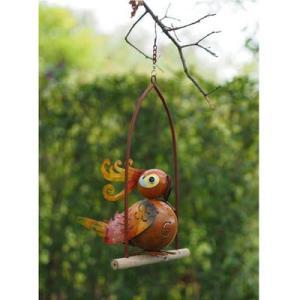 Statue Oiseau Rigolo en métal à accrocher- Joseph 45cm