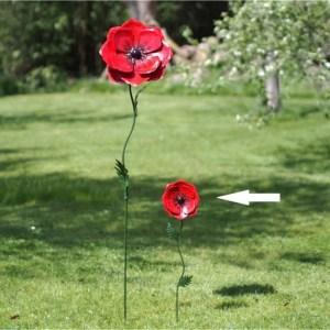Fleur en métal Coquelicot H70 cm