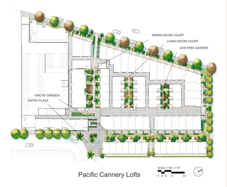 Site plan shows the three interior courtyards, the exterior courtyard, and perimeter plantings at Pacific Cannery Lofts.