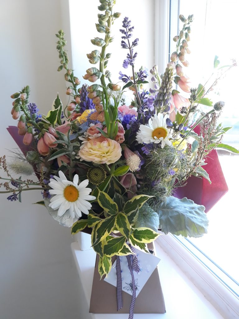 Natural Hand tied bouquet ready for delivery in Shepton Mallet by Floral Acre Shepton Mallet British Grown Flowers