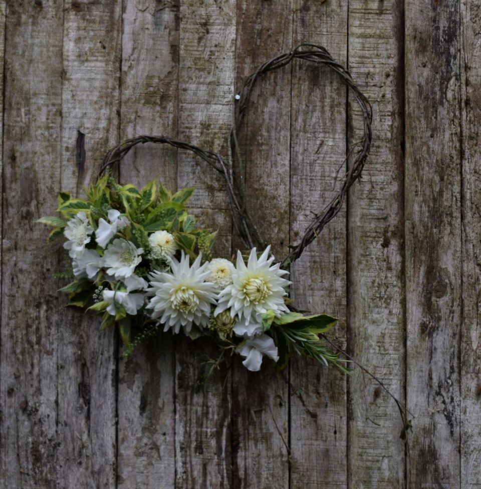 Natural handmade birch heart with flowers funeral tribute Floral Acre Shepton Mallet Funeral Flowers