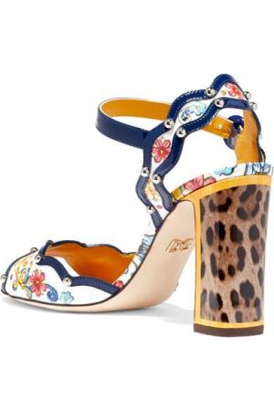 DOLCE & GABBANA Studded printed patent-leather sandals
