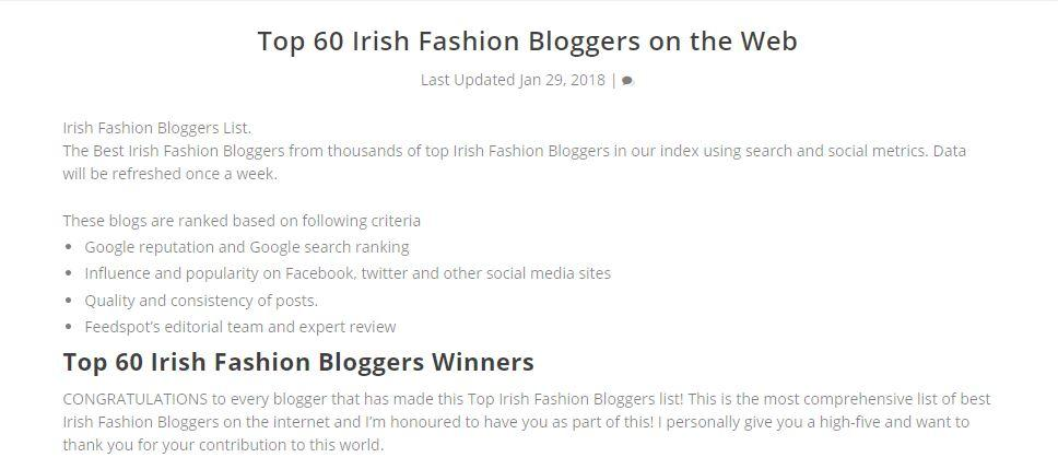Floralesque Named Number 26 of Top 60 Irish Fashion Bloggers on the Web