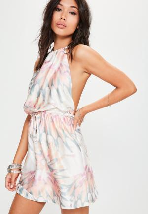 Misguided pink pastel tie dye satin halterneck dress