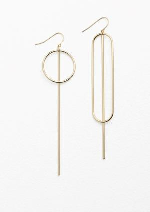 & Other Stories Asymmetric Metal Bar Earrings