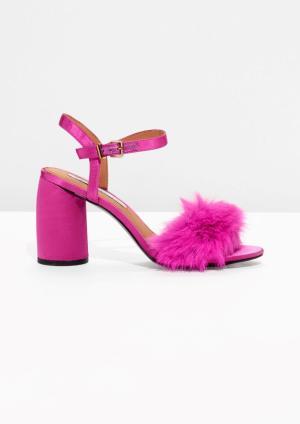& Other Stories Faux Fur Sandalettes