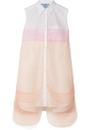 PRADA Tulle-paneled cotton-poplin mini dress