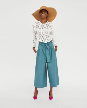 ZARA DIE-CUT EMBROIDERED BLOUSE