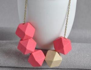 Arty Smarty Pink Geometric Wooden Cube Necklace