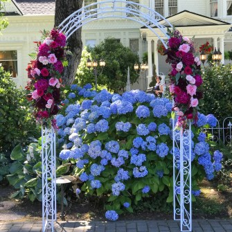White arbor set-up at Queen Anne's Victorian Mansion