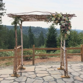 Birch Arbor with asymmetrical floral accents