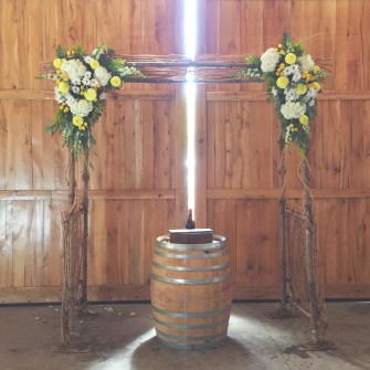 Birch arbor set-up at Maysara Winery