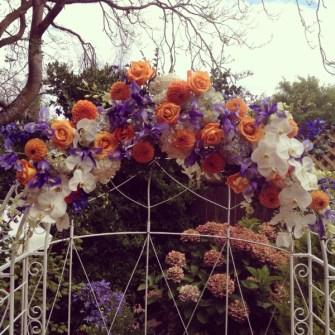 arch flowers at Queen Anne's Victorian Mansion
