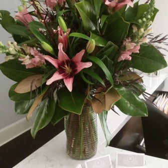 Local lilies for a downtown bridal boutique